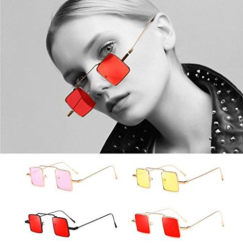 Lunettes de Soleil Ansenesna Lunettes de soleil de forme carrée de lunettes de soleil de mode de femmes intégrées Lunettes colorées de bonbon UV E