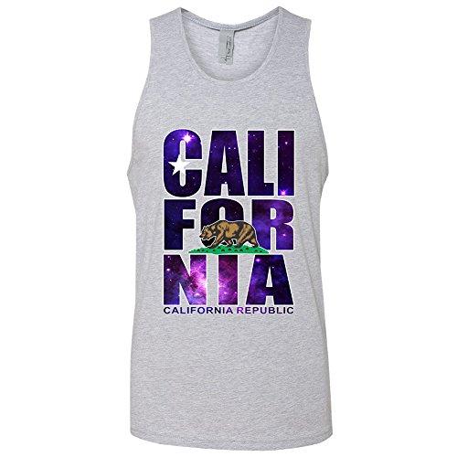 Amazing Items California Republic Galaxy Theme State Symbol Men's Tank Top, 2X-Large, Heather Grey
