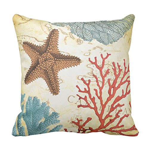 Emvency Throw Pillow Cover Map Fish Colorful Caribbean Starfish and Coral Ocean Decorative Pillow Case Home Decor Square 16 x 16 Inch (Caribbean Pillowcase Art)