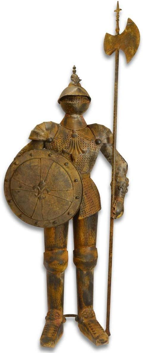 Casa Padrino Armadura Caballero de Hierro con Escudo y Lanza Antigua marrón/óptica óxido H. 242 cm - Decoración Medieval