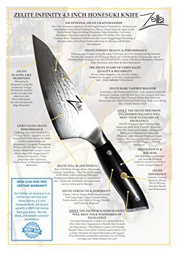 ZELITE INFINITY Honesuki Knife 4.5 inch - Alpha-Royal Series - Best Quality Japanese AUS10 Super Steel 67 Layer Damascus - Razor Sharp, Deep Blade, Versatile Boning Knives Specifically for Chicken by Zelite Infinity (Image #6)