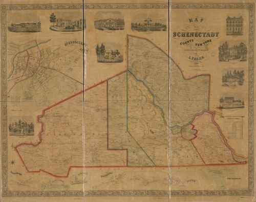 1856 Map of Schenectady County, New York - Size: 18x24 - Ready to Frame - New York (State) | Schenec (Cristmas Songs For Kids)