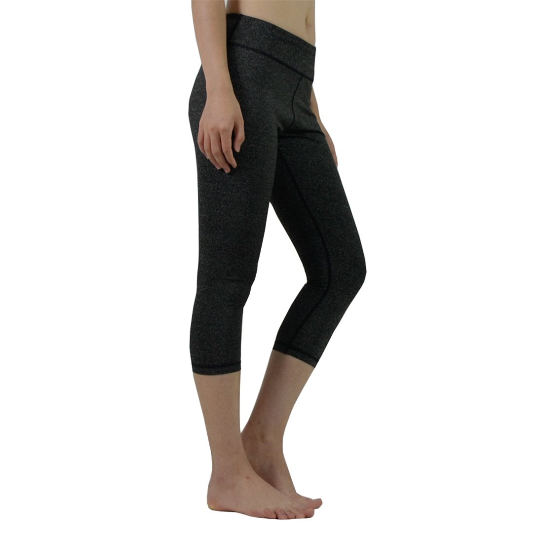 Dark Grey Women's Yoga Capri Pants Workout Running Legging Inner Pocket(SXL)