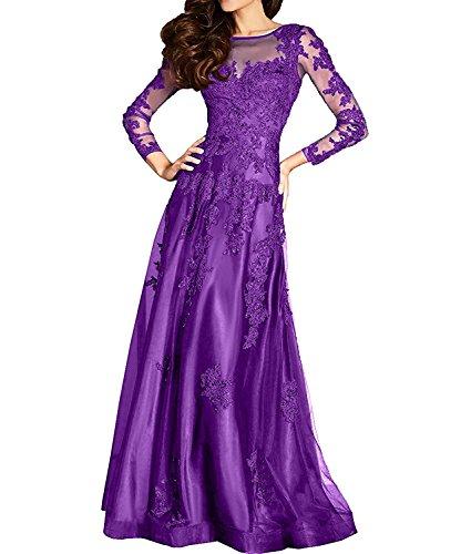 Lang La Festlichkleider Lila Brautmutterkleider mia Langarm Ballkleider Abendkleider Braut Damen Spitze Formal 4xTw4v6qng