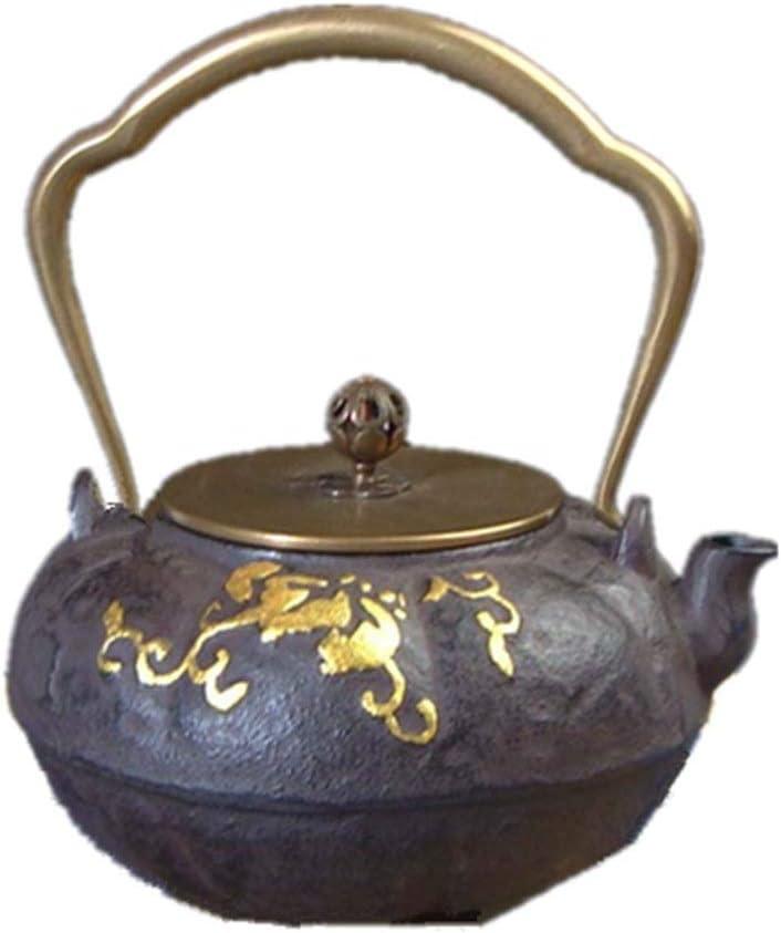 Tetera, Caldera hecha a mano de la vendimia de la tetera sin recubrimiento de arena de hierro del pote del té, diseño retro, exclusivo regalo atmosférica, 1300 ml for el té Exquisito arte de la tetera