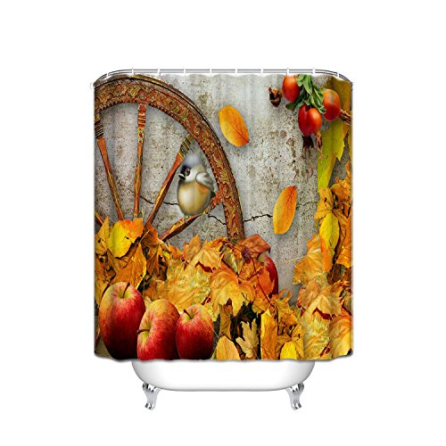 JANNINSE Custom Happy Thanksgiving Shower Curtain, Apple Pomegranate Harvest Thanksgiving Idea, Waterproof Polyester Fabric Anti-mold Waterproof Machine Washable, 60
