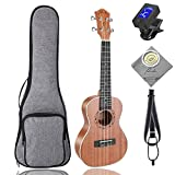 : Concert Ukulele Ranch 23 inch Professional Wooden ukelele Instrument Kit With Free Online 12 Lessons Small Hawaiian Guitar ukalalee Pack Bundle Gig bag & Digital Tuner & Strap & 4 Aquila Strings Set