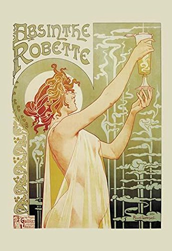 An early advertisement for Absinthe from Brussels The drink green in color was mirrored by Henri Privat-Livemont (18611936) The drink was a powerful hallucinogen and was often called the green fairy