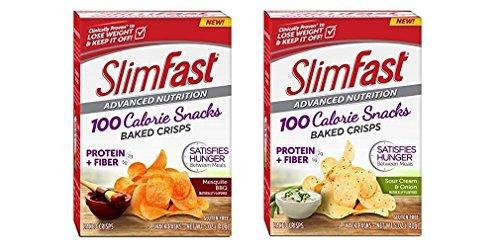 SlimFast Advanced Nutrition Gluten Free 100 Calorie Snacks Baked Crisps 2 pack (Mesquite BBQ & Sour Cream & Onion)