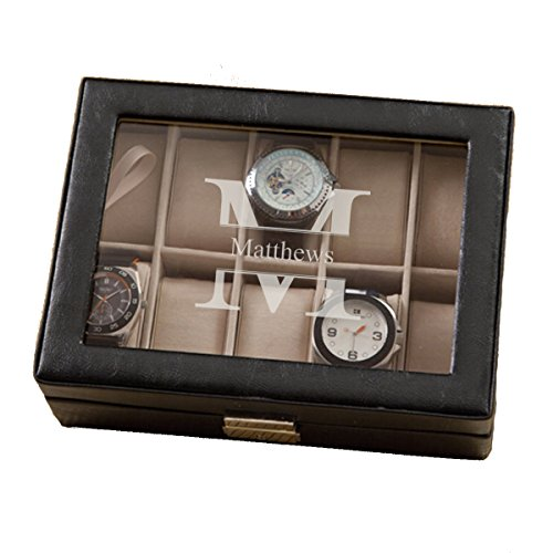 - Monogrammed Leather Watch Box and Watch Case - Personalized Watch Box