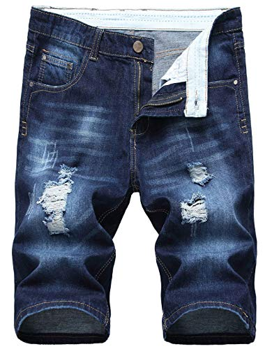 (chouyatou Men's Cool Stylish Wrinkle Performance Slim Ripped Denim Shorts (36, Color11))