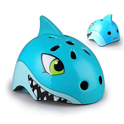Gbell Kids Bike Helmets,Light City Road Cycling Helmets Outdoor Riding Skating Scooter Protection Helmets for Girls Boys,Birthday Gifts,Blue Red Black Purple Dino Shark Unicorn Helmets (Blue): Toys & Games