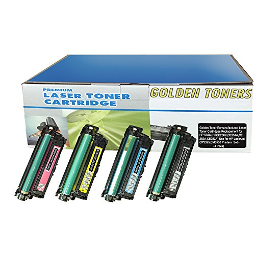 Golden Toner Remanufactured Laser Toner Cartridges Replacement for HP 504A - (CE250A,CE251A,CE252A,CE253A) -4 (Color Laserjet Cp3525n Printer)