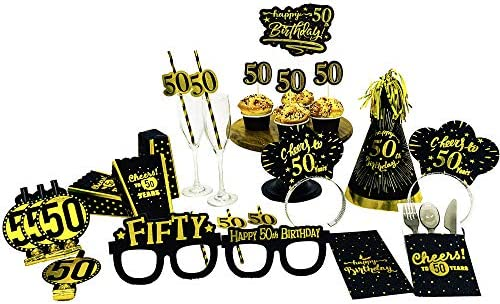 50th Birthday Decorations Gold Hats - Cone Hats with Gold Flash Glitter, Black Gold Theme 50th Birthday Party Supplies. 50th Birthday Party Favors for Men. 6 Count