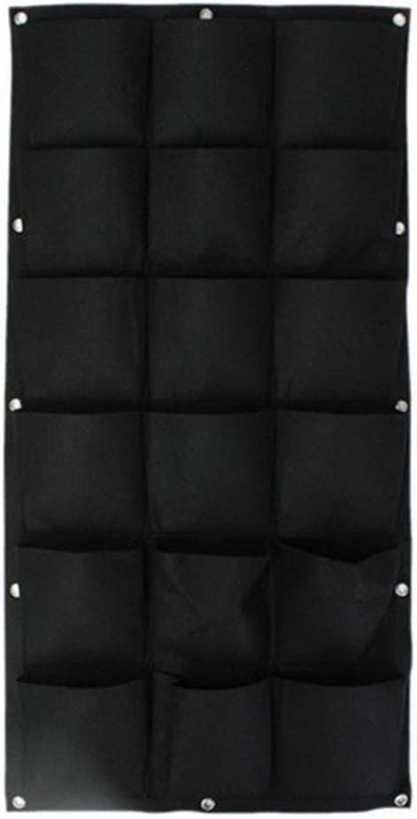 18 Pockets Vertical Wall Planter, Wall Hanging Garden Fence Planters Plant Grow Bag for Herbs Vegetables and Flowers (18 Pockets (Black))