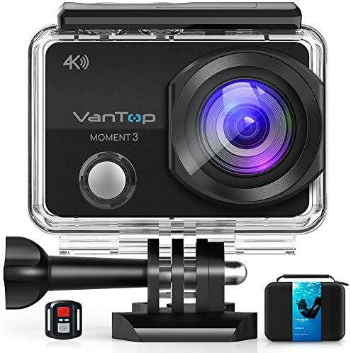 VanTop Moment 3 4K Action Camera w Gopro Compatible Carrying Case,Remote Control,16MP Sony Sensor,30M Waterproof Camera w Gopro Compatible Accessories,2 Batteries,170 Ultra Wide Angle