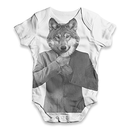 TWISTED ENVY All Over Print Bodysuit Onesie Mr Wolf White 3-6 Months ()