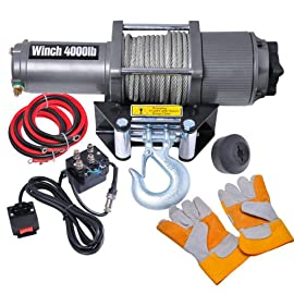 12 Volt Electric Winch Pulls 4000 Lbs with Efficient Three-stage Planetary Gear Train