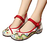 AvaCostume Chinese Traditional Dragon Embroidery Flats Cheongsam Shoes, Beige, 36