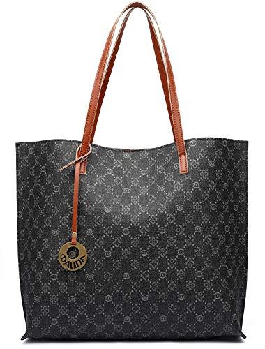 - Malirona Women's Luxury Artificial Leather Tote Shoulder Bag, Big Capacity Handbag (Black)