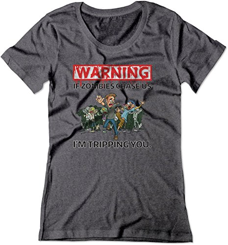 BSW Women's Warning - If Zombies Chase us I'm Tripping You Shirt XS Dark Heather