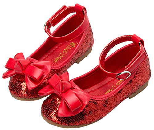 Shiny Toddler/Little/Big Girls Sequins Princess Mary Jane Flats US Toddler 9.5M,Red ()
