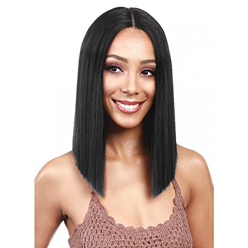 N&T Lace Front Wigs Short Bob Straight Wig Natural Black Color Synthetic Full Hair Wig for Women Heat Resistant 15