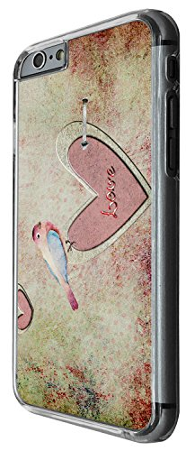 1346 - Cool Fun Trendy cute kwaii love bird heart valentines day Design iphone 6 Plus / iphone 6 Plus S 5.5'' Coque Fashion Trend Case Coque Protection Cover plastique et métal - Clear