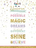 wallsthatspeak Girl's Room Unicorn Magic Life Lessons - Unframed Rainbow Sparkle 12x16 Inch Wall Decor Art Print Poster