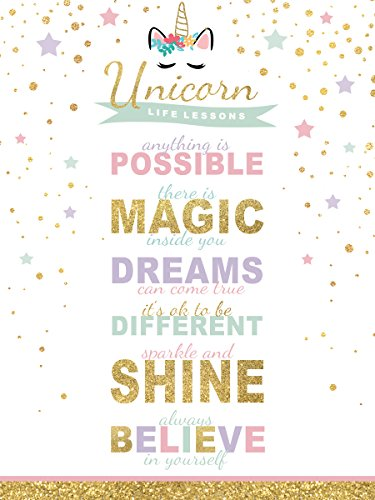 wallsthatspeak Girl's Room Unicorn Magic Life Lessons - Unframed Rainbow Sparkle 12x16 Inch Wall Decor Art Print Poster by wallsthatspeak