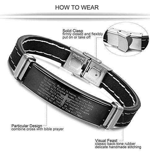 Jstyle Acier Inoxydable Bracelet Homme de Silicone Chaîne de la Main Noir 20cm