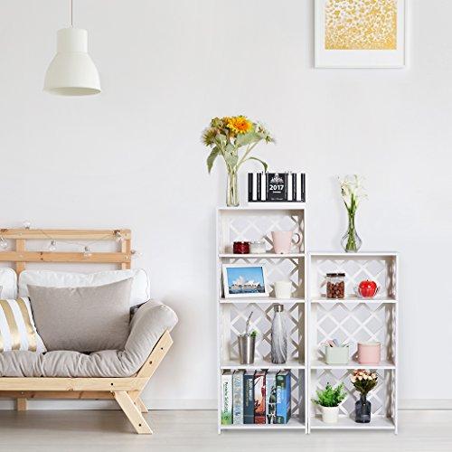 Rackaphile 4-Tier Bookcase Storage Shelf, Wood Plastic Waterproof Bookshelf Storage Organizer Shelving Unit Display Rack Book Shelf for Living Room Bathroom Office White by Rackaphile (Image #1)