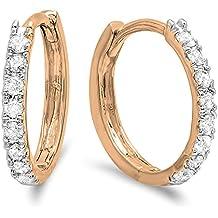 0.22 Carat (ctw) 10K Gold Real Round Cut White Diamond Ladies Huggies Hoop Earrings 1/4 CT