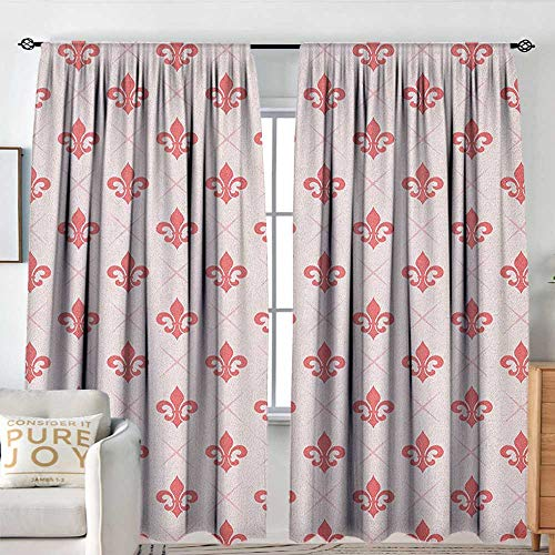 Pattern Curtains Coral,Checkered Pattern with Ancient Symbol of Fleur De Lis Royal French Lily Flower, Coral Baby Pink,All Season Thermal Insulated Solid Room Drapes 54