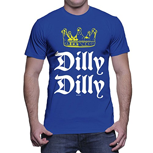HAASE UNLIMITED Men's Dilly Dilly Gold Crown T-Shirt (Royal, - T-shirt Mens Crown