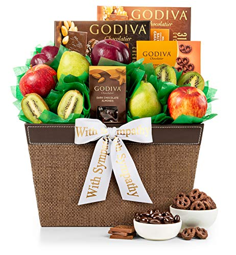 GiftTree Fresh Fruit and Godiva Sympathy Gift Basket | Includes Godiva Chocolates, Fresh Pears, Crisp Apples, Juicy Kiwis and Plums | Display Heartfelt Warmth and Compassion