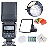 """Neewer NW690/MK950II ETTL LCD Screen Display Camera Slave Flash Speedlite Kit for Canon EOS 700D/T5i 650D/T4i 600D/T3i 1100D/T3 550D/T2i 500D/T1i 100D/SL1 400D/XTi 450D/XSi 300D/Digital Rebel 20D 30D 60D 5D Mark III 5D Mark II and All Other Canon DSLR Cameras--Includes(1)NW690/MK950II Flash + (1)6x8""""/20x15cm Dome Softbox + (1)22""""/60cm 5-in-1 Round Reflector + (1)Soft Flash Diffuser + (1)Hard"""