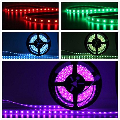 Salcar 5m RGB LED Lichtschlauch mit 300 LEDs (SMD5050), IP67 wassergeschützt/wasserdicht/außen, inkl. 24 Tasten IR Fernbedienung, Controller und 12V 60W Netzteil, 16 Farben auswählbar
