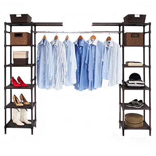 14'' Elegant Look Sturdy Steel Wire and Plated with a Bronze Epoxy Finish Adjustable Eight Shelves with Two Cantilever Shelves Fully Customizable Deep Expandable Storage Closet Organizer for Wardrobe