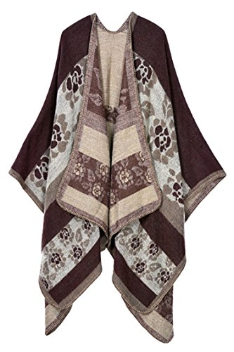 VamJump Women Printed Wrap Shawl Oversized Blanket Open Front Poncho Cape (Coffee-399),One Size