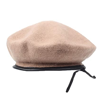 8bce0ab1a Amazon.com: YC° Leather Wool Beret, Female Autumn and Winter Wild ...