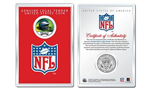 (PHILADELPHIA EAGLES NFL Helmet JFK Half Dollar Coin w/NFL Display Case LICENSED)