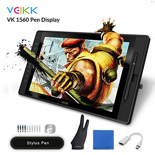 Drawing Monitor Tablet, VEIKK VK1560 Drawing Tablet with Screen Full HD IPS Pen Display Graphic Monitor with Battery Free Passive Stylus (8192 Level Pressure, 92% NTSC)