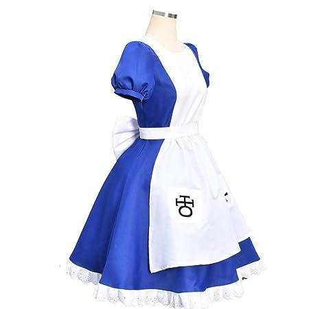 QZ Cosplay Traje Princesa Vestido de mucama Azul Traje ...