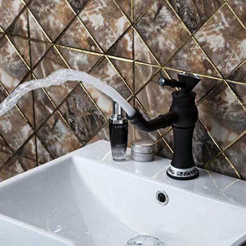 PATNICK Bathroom Water Tap,Oil Rubbed Black Bronze Kitchen Single Diamond Handle Swivel Wash Basin Sink Vessel Vanity Faucet Mixer Tap ()