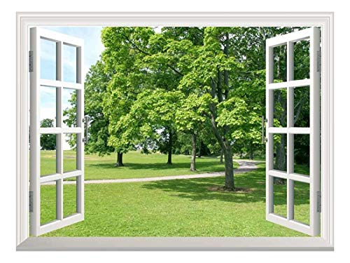 Removable Wall Sticker Wall Mural Park with Green Trees Creative Window View Wall Decor