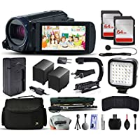 Canon VIXIA HF R62 HFR62 HD Camcorder Video Camera + 128GB Memory + Charger with Car/Euro Adapter + Action Stabilizer + LED Night Light + Cap Keeper + Large Case + Monopod + Dust Cleaning Kit + More
