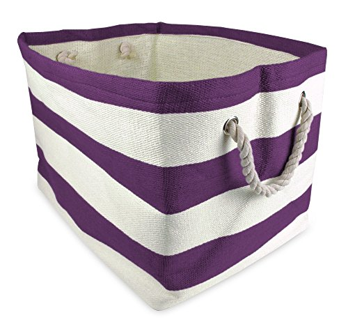"DII, Woven Paper Storage Bin, Collapsible, 17x12x12"", Rugby Eggplant - LARGE STORAGE BINS - 17x12x12"", storage bin will hold shape once filled, constructed of woven paper with soft cotton rope handles knotted through grommets, holds up to 30 lbs ALWAYS TRENDY & STYLISH - These bins are available in fun, trendy and adorable styles and colors, a perfect addition to a nursery, home office, craft room, or to add a splash of color to any room while also being functional ORGANIZATIONAL SOLUTION FOR THE HOME - Find a place for knick knacks, children's' toys, magazines, craft supplies, and more with these sturdy, everyday bins that can be tucked away in closets, side tables, under beds, left out in the open to enhance decor, or on a shelf - living-room-decor, living-room, baskets-storage - 519zl2J8sOL -"