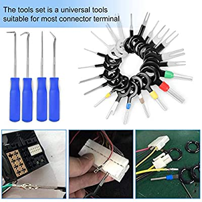 25 pcs Auto Terminals Removal Tool with 4 pcs Precision Pick and Hook Set Tools for Car: Automotive