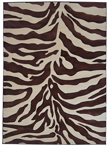 Rugs 4 Less Collection Sculpted Brown Zebra Skin Print Area Rug R4L 245 (5'2''x7'3'') by Rugs 4 Less